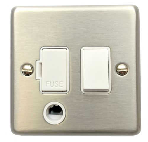 G&H CSS56W Standard Plate Brushed Steel 1 Gang Fused Spur 13A Switched & Flex Outlet